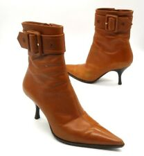 SERGIO ROSSI Size 37 Brown High Heel Pointed Toe Mid Calf Buckle Accent Boot