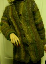 HAND KNIT WOOL MOHAIR FUZZY CARDIGAN SWEATER COAT S / M
