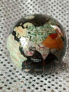Semi Precious Gemstone World Globe paperweight bookend Inlaid Gems Stone