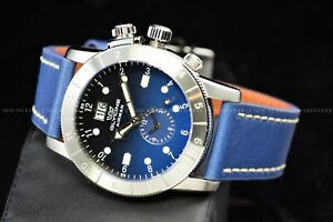 "Glycine Men 42mm Airman Sapphire Quartz GMT ""SWISS MADE"" Blue Leather Watch 0151"