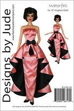 """Waterfall Dress Doll Clothes Sewing Pattern for 16"""" Kingdom Dolls"""