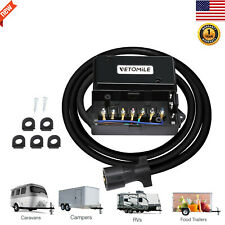 8 ft 7 Way Trailer Plug Cord Cable Wire Junction Box for Rv Camper Weatherproof