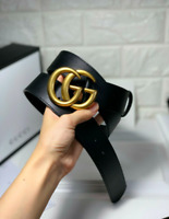 Auth GUCCI BELT BLACK MEN AND WOMEN GOLD GG Buckle 100 cm / 40 fits 34-36