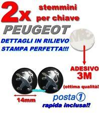 2 LOGO CHIAVE TELECOMANDO PEUGEOT FREGIO STEMMA 14 mm ADESIVO 3M QUALITà TOP!