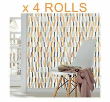 Orange Stripes Wallpaper Green Sky Blue Lines Retro Bright Funky Textured X 4