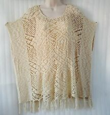 New~ One World ~ Ivory Cream Crochet Fringe Hem Spring Layered Sweater size 14/L