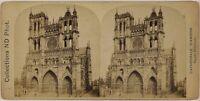 Cattedrale Amiens Façade Francia Foto Stereo Vintage Albumina c1880