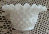 "Vintage ~  Fenton White Milk Glass Hobnail w/Ruffled Edge 4.5"" Candy Dish ~ Bowl"