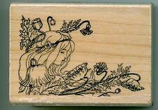 Hampton Art rubber stamp POPPY FAIRY wood mounted, Fairies, Flowers, PS0581