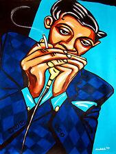 LITTLE WALTER PRINT poster harmonica rock bottom cd blues harp chicago bound art