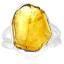 Citrine Rough 925 Sterling Silver Ring Jewelry S.7 CTRR122