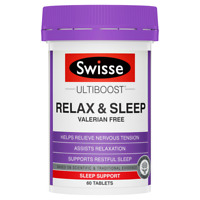 Swisse Ultiboost Relax & Sleep 60 Tablets Passionflower Restful Sleep Relaxation