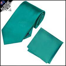 Jade Teal Green Mens Tie with Matching Pocket Square Handkerchief Hanky Kerchief
