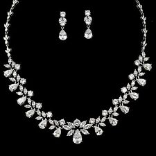 White Gold Plated Zirconia CZ Necklace Earrings Bridal Wedding Jewelry Set 00943