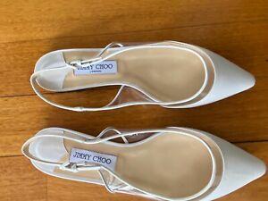 Jimmy Choo size 40 white flat strap flat sandal. Leather. Barely worn