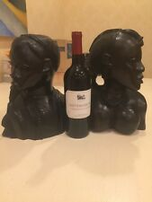 African Ebony Busts- Man and Woman. Wine bottle added for scale only.