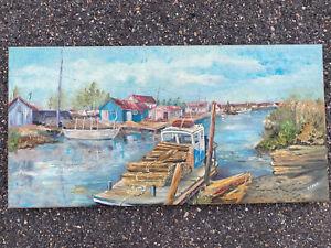 tableau signé marine huile sur toile Oléron parc à huitres