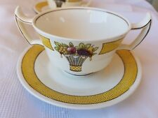 WEDGWOOD Directoire SOUP BOWL with HANDLES and Saucer Yellow Band Flower Basket