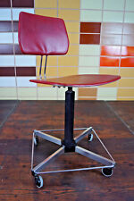 Vintage Chrome Office Chair Swivel Chair Desk Chair Architects Red 70er