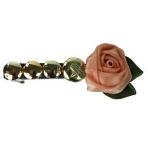 Barrette Pince à Cheveux cabochons argenté et dore camp fleur marron et verte
