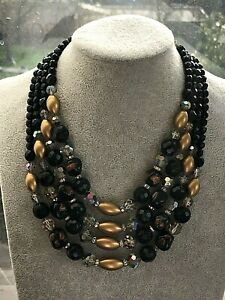 Vendome Signed Four Strand Necklace Faux French Jet, Murano & AB Crystal  c1960s