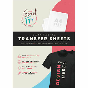 10 x A4 IRON ON T-SHIRT TRANSFER PAPER FOR DARK FABRIC - FOR INKJET PRINTER