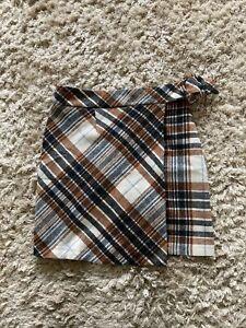 Next Tartan Checked Wool Blend Buckle Detail Mini Skirt Kilt Size 8