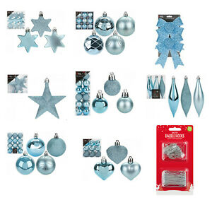 Christmas Tree Ornaments Hanging Baubles Star,Heart,Drop,Bow Xmas Decor-Ice Blue
