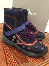 NIB Dior Fusion Black Crystal Blue Beaded High Top Trainer Sneaker Boot 42 $1600