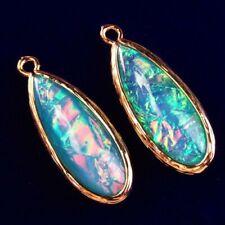 Teardrop Pendant Bead 30x11x6mm L33212 2Pcs Wrapped Blue Multicolor Opal