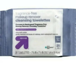 25ct Up & Up Brand, Fragrance-Free Makeup Remover Cleansing Wipes, Clean Face