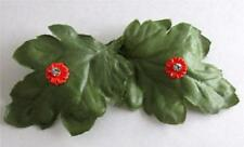 PRETTY VINTAGE RHINESTONE SET ORANGE ZINNIA FLOWER PIERCED EARRINGS