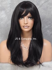Long Silky Straight Lace Front Wig Soft Off Black bangs HEAT SAFE Wig HSO 1B