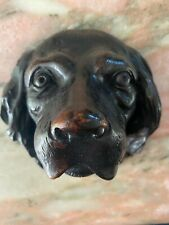 More details for black forest antique 19th century carved dog's head