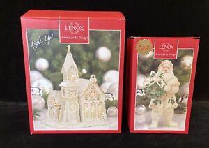 2 LENOX MISTLETOE PARK Figurines 2007 Village Church + Santa With Wreath W/Boxes