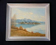 Chiemsee. Blick auf las Isla Damas. Orig. Pintura al óleo WILLI HALLHUBER 10-79