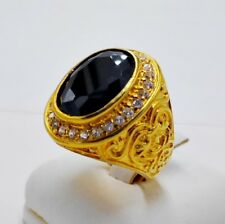 MEN MAN RING BLACK ONYX CZ 24K YELLOW GOLD FILLED GP SOLITAIRE EAGLE GEMS SIZE 9