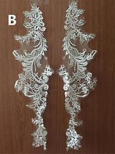 Sew on Bridal Applique Trim Embroidery Applique Ivory Lace Wedding Motif 1 Pair