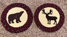 Lot of 2 Woodland Creek Braided Rug Table Mat Trivet Bear Moose