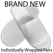 SPA HOTEL GUEST SLIPPERS OPEN TOE TOWELLING DISPOSABLE TERRY STYLE NEW