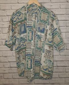 Vintage Mens 90S abstract crazy print festival shirt Green Brown Blue SIZE XXL