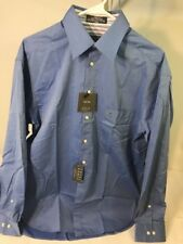 Mens Crazy Horse Sz 16 34-35 Blue Long Sleeve Button Down Dress Shirt Claiborne
