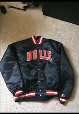 Vintage Chicago Bulls Starter Basketball Jacket Old School Satin Rare Black '90s
