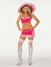 Shirley Hollywood 7514+7548 Hot Pink Mama Hooker Furry Costume w/HAT Set  Sz S/M