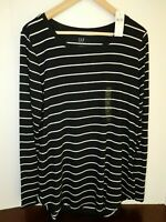 NWT Gap Women's Luxe Long Sleeve Black/White Striped Top XS S M New MSRP $35