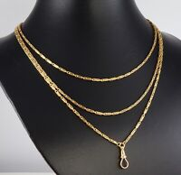 Antique Victorian 18Ct Gold Long Guard / Muff Chain Necklace , 36.6grams c 1880s