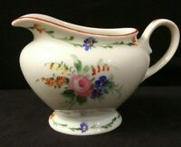 Vintage MZ Altrohlau Czechoslovakia Footed Creamer Colorful Floral Red Trim