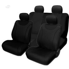 New Sleek Flat Black Cloth Front and Rear Car Seat Covers Set For Jeep