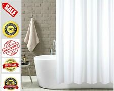 White Plain Fabric Shower Curtain Extra Wide Extra Long Standard With Hooks Ring