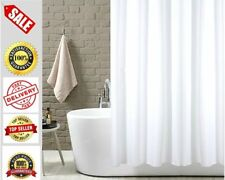 Extra Long Plain White Polyester Fabric Shower Curtains With Plastic Hooks Rings